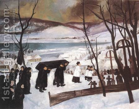 Funeral at Zebegeny 1928 by Istvan Desi-Huber - Reproduction Oil Painting
