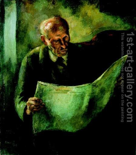 Man Reading (The Portrait of the Artist's Father) 1923 by Istvan Desi-Huber - Reproduction Oil Painting