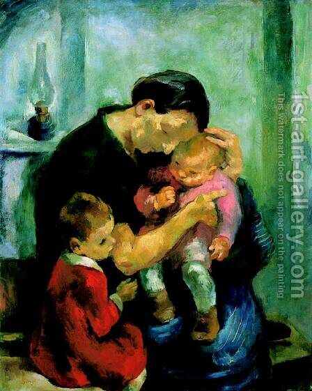Mother (Motherhood; Mother with Her Children) 1928 by Istvan Desi-Huber - Reproduction Oil Painting