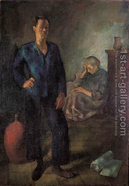 My Mother and I 1923 by Istvan Desi-Huber - Reproduction Oil Painting