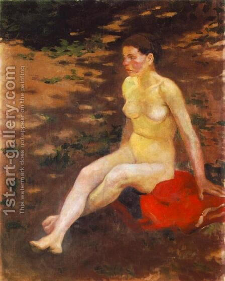 Nude in the Garden 1914 by Istvan Desi-Huber - Reproduction Oil Painting