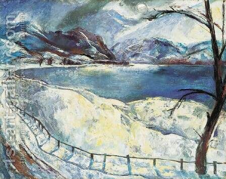 Snowy Danubian Landscape (The Danube during Winter) 1928 by Istvan Desi-Huber - Reproduction Oil Painting