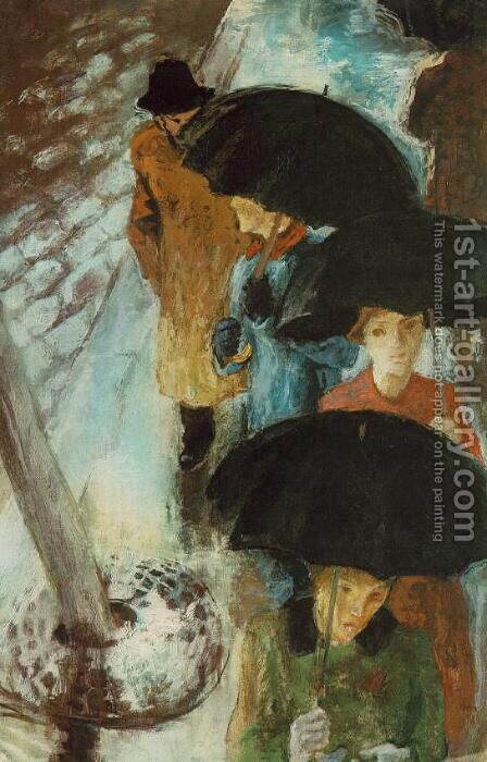 Umbrellas 1939 by Istvan Desi-Huber - Reproduction Oil Painting