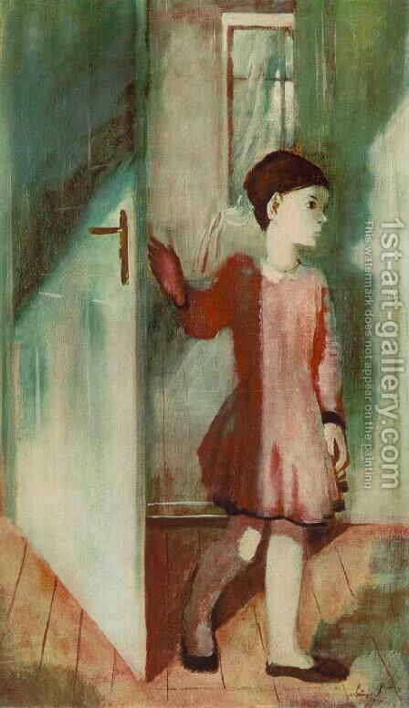 Zsuzsa at the Door 1931 by Istvan Desi-Huber - Reproduction Oil Painting