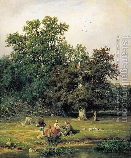Gathering Mushrooms 1870 by Ivan Shishkin - Reproduction Oil Painting