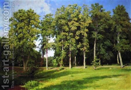 Grove By The Pond Preobrazhenskoye 1896 by Ivan Shishkin - Reproduction Oil Painting