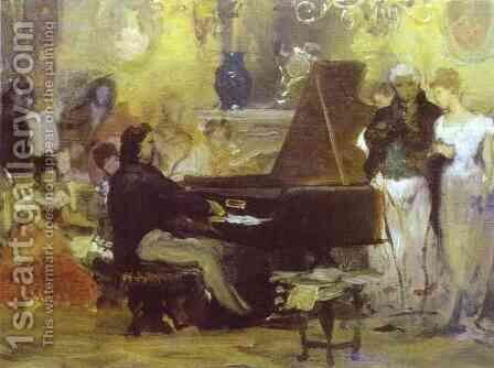 Chopin Performing In The Guest Hall 1887 by Henryk Hector Siemiradzki - Reproduction Oil Painting