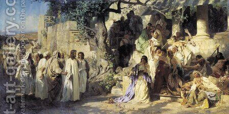 Christ And Sinner The First Meeting Of Christ And Mary Magdalene 1873 by Henryk Hector Siemiradzki - Reproduction Oil Painting