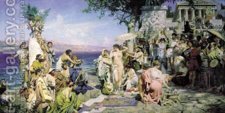 Phryne At The Festival Of Poseidon In Eleusin 1889 by Henryk Hector Siemiradzki - Reproduction Oil Painting