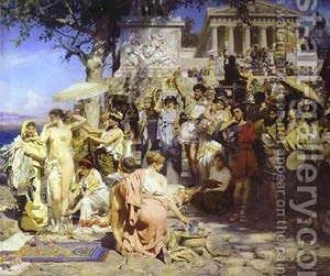 Phryne At The Festival Of Poseidon In Eleusin Detail 1889 by Henryk Hector Siemiradzki - Reproduction Oil Painting