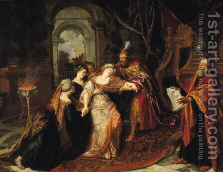 Esther before Ahasuerus before 1697 by Charles-Antoine Coypel - Reproduction Oil Painting