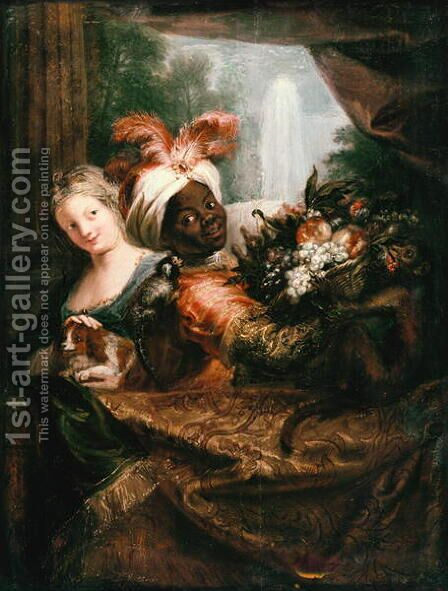 Young Black Man Holding a Basket of Fruit and a Young Girl Stroking a Dog by Charles-Antoine Coypel - Reproduction Oil Painting