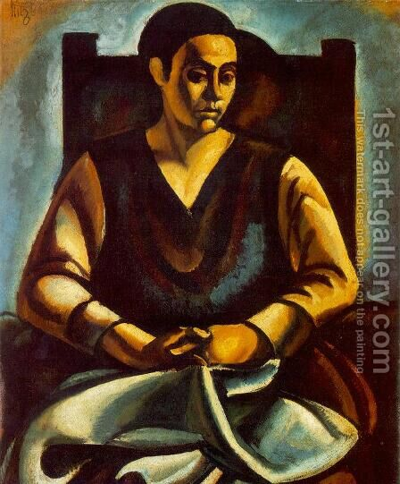 Sitting Woman 1918 by Bela Kondor - Reproduction Oil Painting