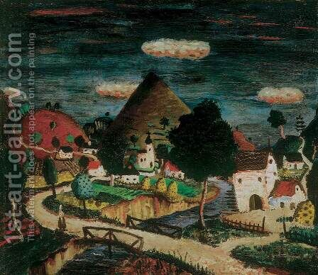 Village 1930 by Imre Szobotka - Reproduction Oil Painting