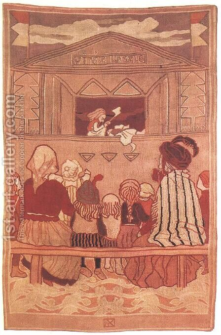 Puppet Theatre 1907 by Aladar Korosfoi-Kriesch - Reproduction Oil Painting