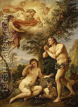 The Expulsion from Paradise 1740 by Charles Joseph Natoire - Reproduction Oil Painting