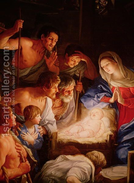 The Adoration of the Shepherds detail of the group surrounding Jesus by Guido Reni - Reproduction Oil Painting