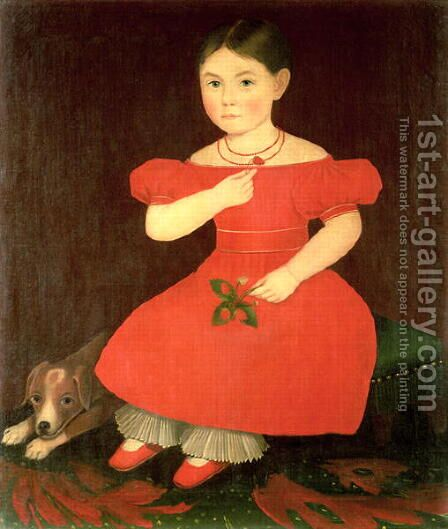 Portrait of a girl in a red dress by Ammi Phillips - Reproduction Oil Painting