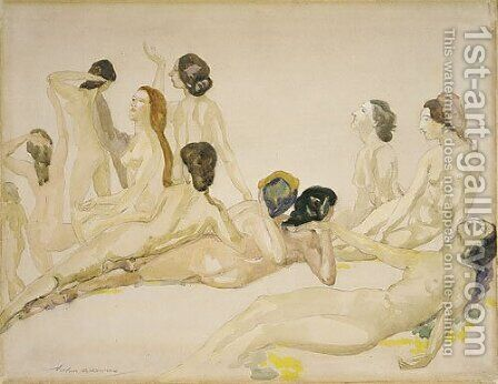 Eleven Nudes ca 1910 by Arthur Bowen Davies - Reproduction Oil Painting