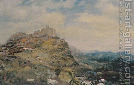 Italian Hill Town ca 1925 by Arthur Bowen Davies - Reproduction Oil Painting