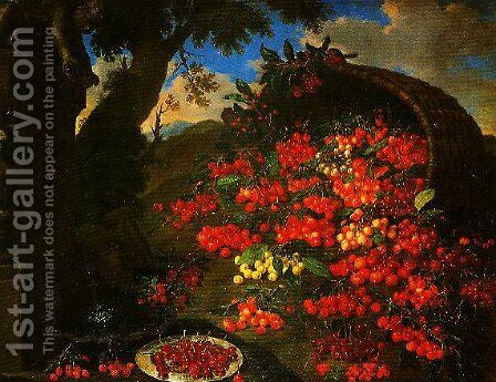 Cherries by Bartolommeo Bimbi - Reproduction Oil Painting