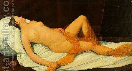 Reclining Female Nude by Bernardino Licinio - Reproduction Oil Painting