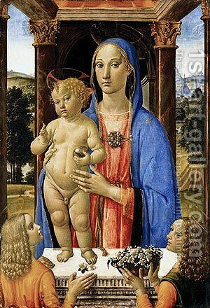 Madonna and Child with Angels by Cosimo Rosselli - Reproduction Oil Painting