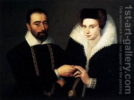 Portrait of a Couple 1610 by Anonymous Artist - Reproduction Oil Painting