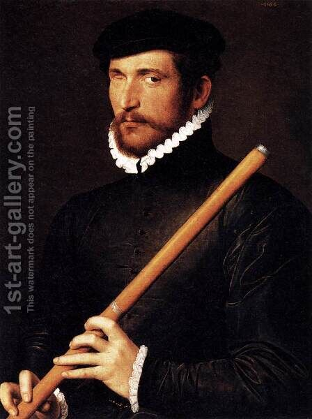 Portrait of a Flautist with One Eye 1566 by Anonymous Artist - Reproduction Oil Painting
