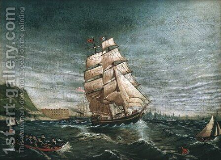 Ship in New York Harbor 1890 by Anonymous Artist - Reproduction Oil Painting