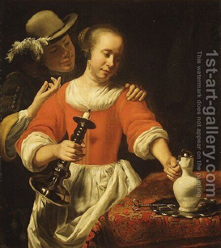 A Young Woman and a Cavalier probably early 1660s by Cornelis Bisschop - Reproduction Oil Painting