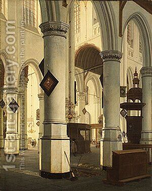 Interior of the Oude Kerk Delft 1660 by Hendrick Van Vliet - Reproduction Oil Painting