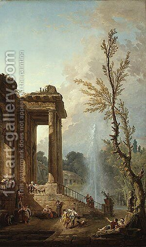 The Portico of a Country Mansion 1773 by Hubert Robert - Reproduction Oil Painting