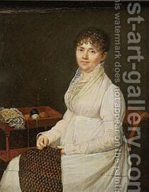 Portrait of a Woman with Tapestry Work by Jacques-Jean- Baptiste Augustin - Reproduction Oil Painting