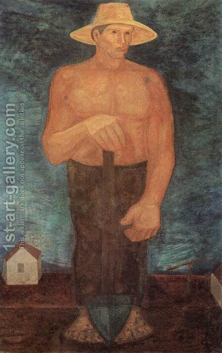 Peasant with Spade 1931-32 by Imre Nagy - Reproduction Oil Painting