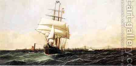 The American Leaving New York Harbor 1884 by Antonio Jacobsen - Reproduction Oil Painting