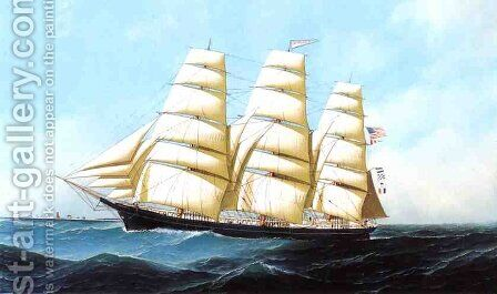 The Clipper Ship Triumphant Date unknown by Antonio Jacobsen - Reproduction Oil Painting