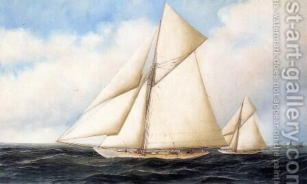 Yacht Race 1895 by Antonio Jacobsen - Reproduction Oil Painting
