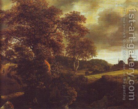 Hilly landscape with a great oak and a grainfield by Jacob Van Ruisdael - Reproduction Oil Painting