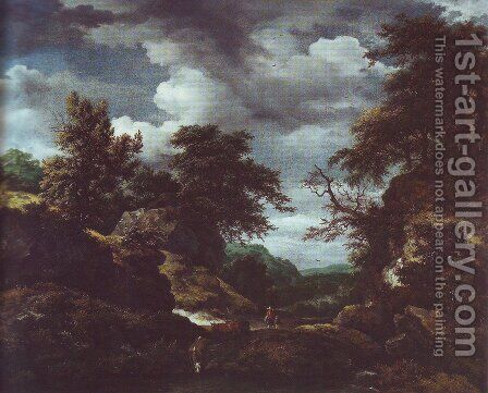 Hilly wooded landscape with cattle by Jacob Van Ruisdael - Reproduction Oil Painting