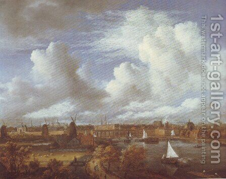Panoramic view of the amstel looking towards amsterdam by Jacob Van Ruisdael - Reproduction Oil Painting