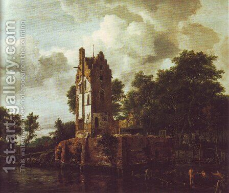 Reconstruction of the ruins of the manor kostverloren by Jacob Van Ruisdael - Reproduction Oil Painting