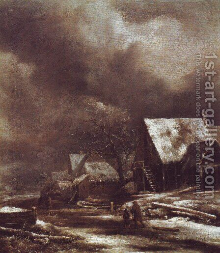 Village in winter by Jacob Van Ruisdael - Reproduction Oil Painting