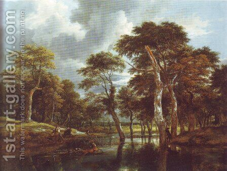 Waterfall in a hilly wooded landscape by Jacob Van Ruisdael - Reproduction Oil Painting