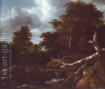 Waterfall in a hilly wooded landscape2 by Jacob Van Ruisdael - Reproduction Oil Painting