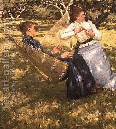 In the Orchard 1893 by Henry Herbert La Thangue - Reproduction Oil Painting
