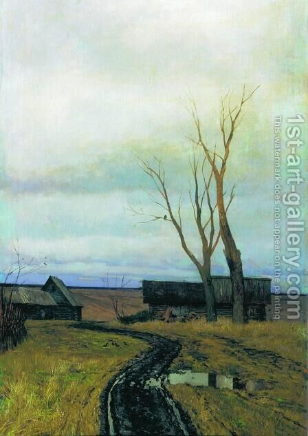 Autumn Road in a Village 1877 by Isaak Ilyich Levitan - Reproduction Oil Painting