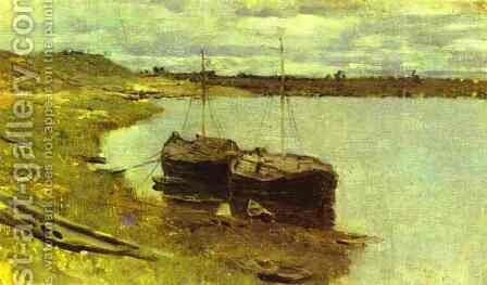 Barges The Volga 1889 by Isaak Ilyich Levitan - Reproduction Oil Painting