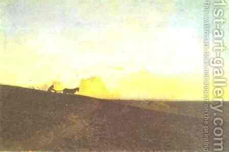 Evening in the Field 1883 by Isaak Ilyich Levitan - Reproduction Oil Painting