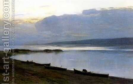 Evening on the Volga 1887 1888 by Isaak Ilyich Levitan - Reproduction Oil Painting